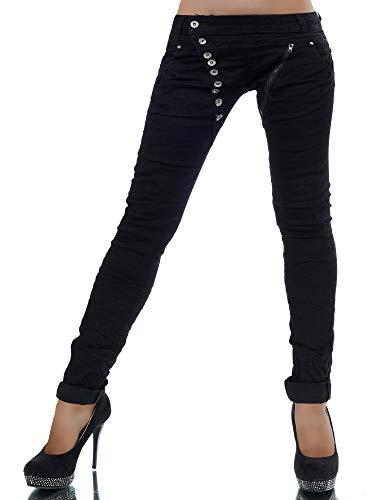 Damen Jeans Hose Boyfriend Damenjeans Harem Baggy Chino Haremshose L368, Farbe: Schwarz, Größe: 38
