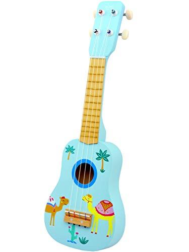 ギター 子供用 おもちゃ ウクレレ こども用 4弦 初心者 UKULELE 楽器玩具 知育玩具 木製 かわいい ミニギター (青い)