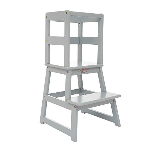 SDADI Kids Kitchen Step Stool with Safety Rail - for Toddlers 18 Months and Older, Gray LT01G