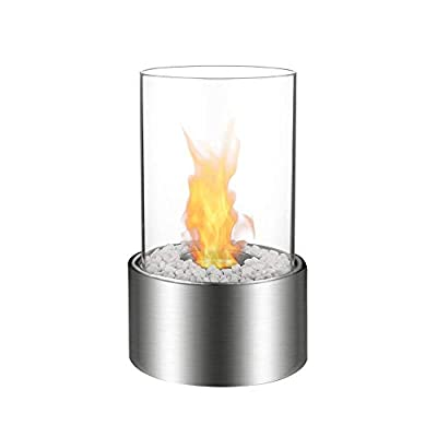 Bio Ethanol Fireplace Indoor Outdoor Camping Glass Top Burner Fire Katy Black Tabletop Round