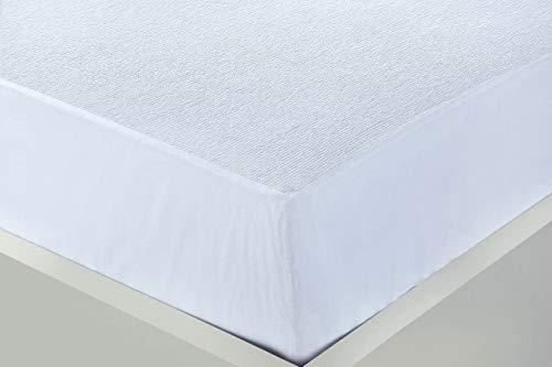 Crescent Collection 100% Cotton Waterproof Terry Towel Mattress Protector Super Absorbent Stain Proof Non-Allergenic & Non-Noisy (Super King (183 x 203cm))
