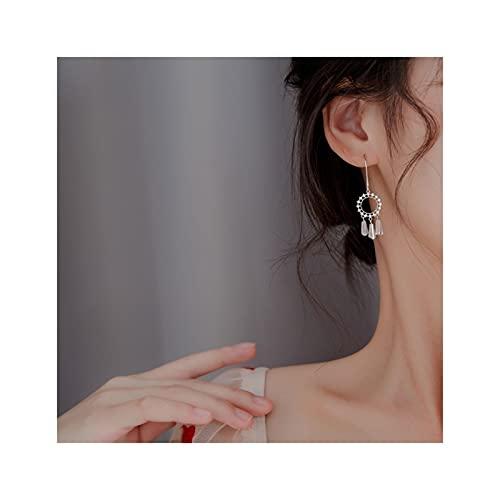 LICHUAN Pendientes de moda con diseño de gota y atrapasueños, red con borla de cristal, regalos para mujeres, niñas, esposas y novias (color: plata)