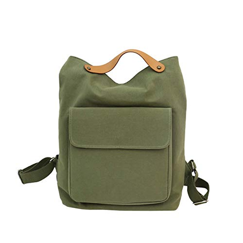 VICTOE La mujer de la tela de algodón resistente versión coreana de la multifunción mochila simple color sólido de viaje juvenil casual moda bolso de hombro, Verde militar (Verde) - VICTOE-6286