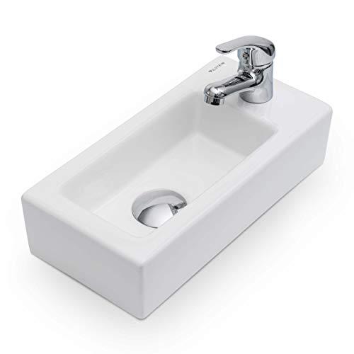 Vilstein Mini-Waschbecken Gäste WC, Hänge- oder Aufsatzwaschbecken, Keramik, klein, 36,5cm x 18cm x 9cm, Hahnloch Rechts