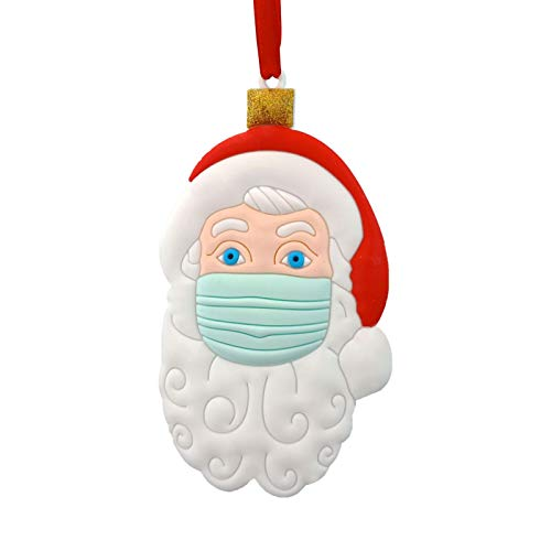 RecoverLOVE 2020 Christmas Ornament, Santa Claus Wearing with Mask Funny Pendant, Christmas Tree Decor Hanging for 2020 Special for Kids