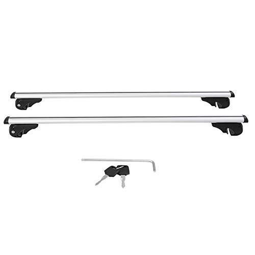 Barras para el Techo Universal de Aluminio 130cm, Barras de techo para Coches Baca para Turismo con Cerradura Antirrobo, Aguanta Hasta 100 kg