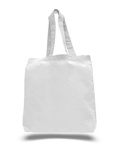 (3 Pack) Set of 3 Cotton Tote Bags Wholesale with Bottom Gusset (White)