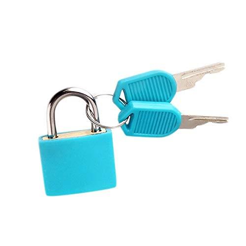 ZAOPP 6 Colors Small Mini Strong Steel Padlock Travel Tiny Suitcase Lock With 2 Keys (Color : Skyblue)