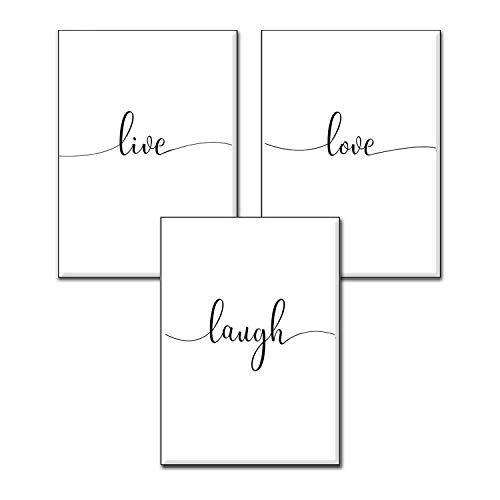 4Good Wandbilder Wohnzimmer als lustige Sprüche, Motivations Bilder fürs Büro oder die Küche, Bild mit Spruch als Schlafzimmer Poster ohne Rahmen (Life-Laugh-Love, A4)