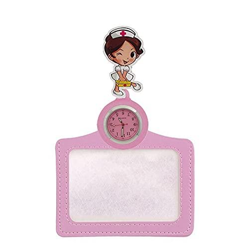 BAIDEFENG Reloj Médico de Bolsillo,Reloj de Bolsillo Retractable de la Historieta, Reloj-Rosa de la Insignia del Doctor de la Enfermera,Reloj de Enfermera Ajustable con Correa