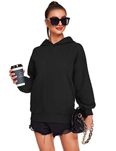 Beyove Soft Hoodie Lightweight Casual Active Wear Thin Crew Neck Sweatshirt Black XL