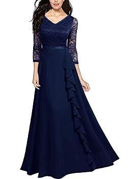 Miusol Women s Retro V Neck Floral Lace Bridesmaid Party Maxi Dress Navy Blue