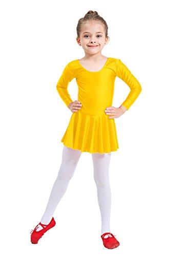 Ensnovo Girls' Spandex Long Sleeve Ballet Dress Toddler Dance Leotard Yellow, 4XL