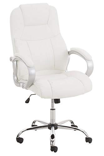 CLP XL Bürostuhl APOLL mit Kunstlederbezug und hochwertiger Polsterung l Drehbarer und höhenverstellbarer Chefsessel bis 150 kg belastbar, Farbe:weiß