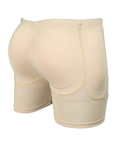 BEN COMM Unisex Butt Lifter Padded Panty Shorts Enhancer/Removable Pads/Body Shaper Underwear Size Waist 34 inches Beige