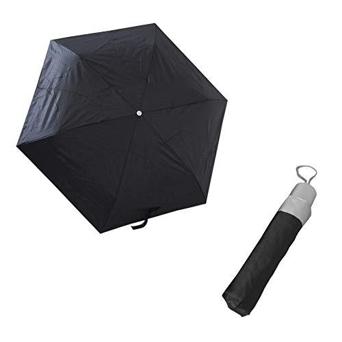 Reise Ø95cm Regenschirm mit Handschlaufe, Taschenschirm, Regenhaube, Umbrella, Taschenregenschirm inkl. Etui - in Schwarz