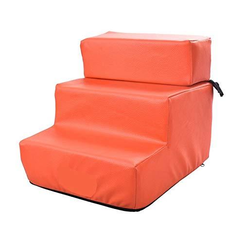 LHY-TRAVEL 3-Stufige Haustreppe, rutschfeste Lederzogene Waschbare Faltbare Hundestufen, Weiche Gepolsterte Überdachte Katze Hunderampe Für Hohe Betten,Orange