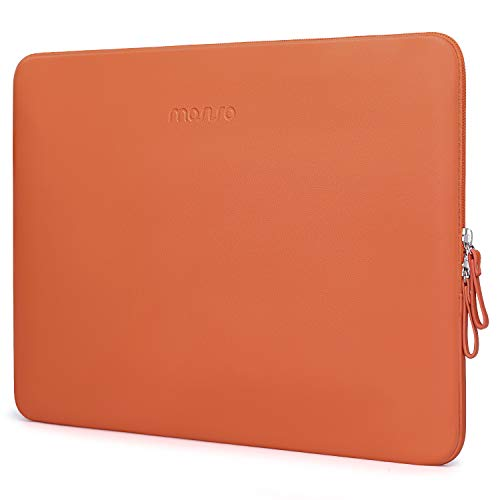 MOSISO Laptop Sleeve Compatible with 13 inch 2020-2016 MacBook Pro A2251/A2289/A2159/A1989/A1706/A1708/2020-2018 MacBook Air A2179/A1932,PU Leather Padded Bag Waterproof Protective Case,Orange