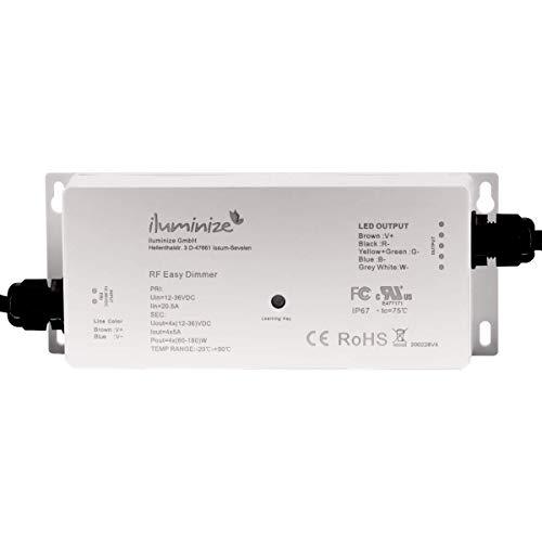 iluminize LED-Controller Funk: flimmerfrei durch 750Hz, hochwertiger und langlebiger LED-Controller Funk 4x 5A RGBW/RGB+W/RGB/Duoweiß (CCT) / weiß, IP67 waterproof (Funk 4x5A IP67 waterproof)