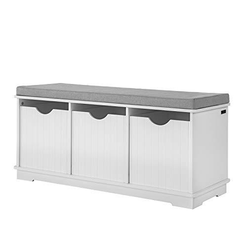 SoBuy® FSR30-W - Banco zapatero para almacenamiento con cojín y 3 cubos, mueble para la entrada