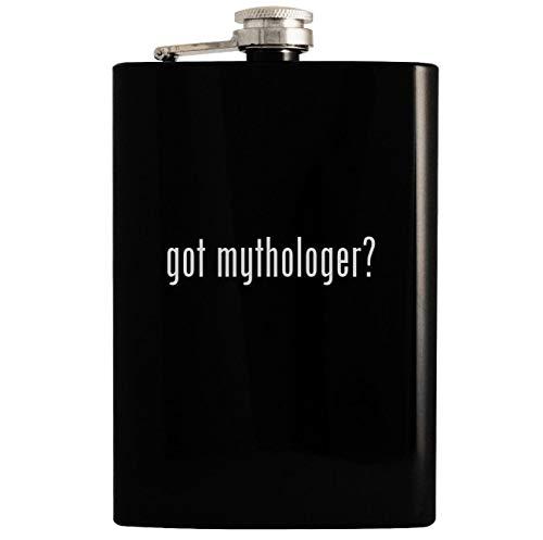 got mythologer? - Black 8oz Hip Drinking Alcohol Flask