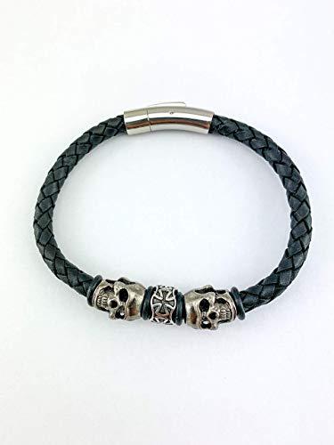 Armband Lederarmband aus 6mm echtem Leder für Herren Männer in schwarz black Schmuck mit Totenkopf sehr cooler Bikerschmuck Rockerschmuck mit Skull LA41