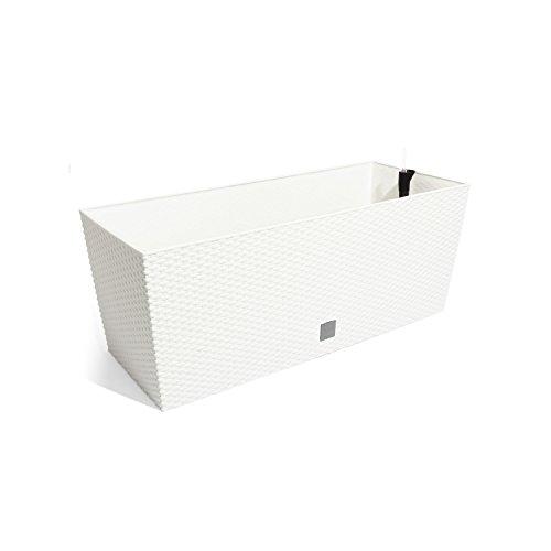 Boite a fleur Rato Case en rattan style 60 cm, en blanc