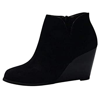 Women s Wedges Ankle Booties Retro V Cutout Comfy Short Boots Flock Leather Zip Closure Stacked Chunky Block Heels Shoes  Black US 8.5/CN 40