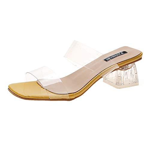 MOTOCO Frauen Damen Hausschuhe Sandalen Sommer Karree High Heels Schuhe Transparente Pumps Jelly Beach Flip Flops(Gelb,35.5 EU)