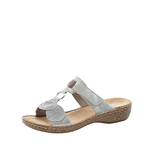 Rieker Femme Sandales 658A4, Dame Sandale à lanières,Chaussure d'été,Sandale d'été,Sandale,Confortable,Plate,Gris (Grau / 40),39 EU / 6 EU