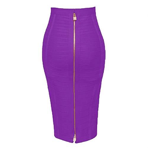 N\P Color puro cremallera naranja azul negro falda vendaje señoras elástico verano lápiz falda