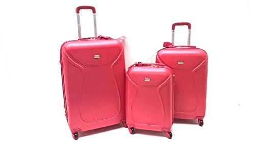 SET 3 TROLLEY VALIGE ABS RIGIDO 4 RUOTE COVERI WORLD SET TROLLEY RIGIDI CON TROLLEY RYANAIR BAGAGLIO A MANO IDONEO cm.55x40x20 (ROSSO)