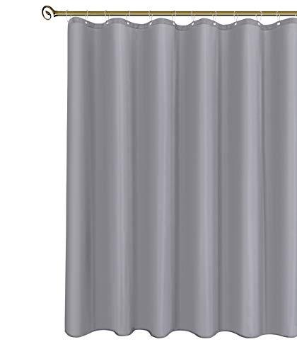 Biscaynebay Duschvorhang, kurz, silbergrau, 183 cm breit x 164 cm lang, wasserabweisend, rostwiderstandsfähige Ösen oben, beschwerter Boden, maschinenwaschbar