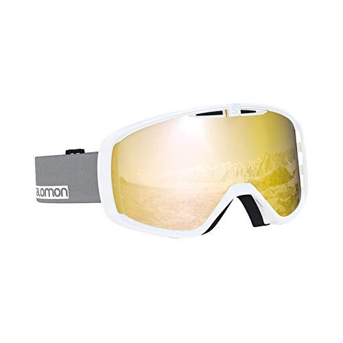 Salomon, Aksium, Máscara de esquí unisex, Blanco-Gris/Solar Bronze, L40516100