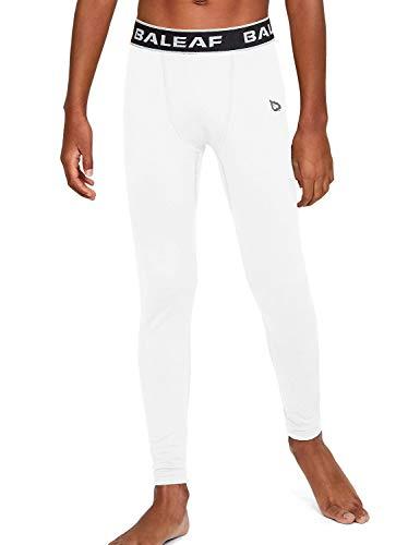 BALEAF Youth Boys' Leggings Compression Pants Running Basketball Baselayer Baseball Soccer Tights White Size M