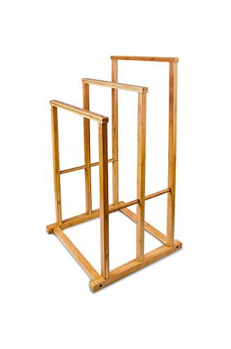 Relaxdays Bambus Handtuchständer H x B x T: 82,5 x 42 x 42,5 cm treppenförmiger Handtuchhalter als Standhandtuchhalter mit 3 Handtuchstangen als Badaccessoire für Handtücher oder Herrendiener, natur