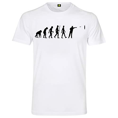 Evolution Dart T-Shirt | Sport | Scheibe | Pfeil | Dartpfeile | Turnier Weiß 2XL