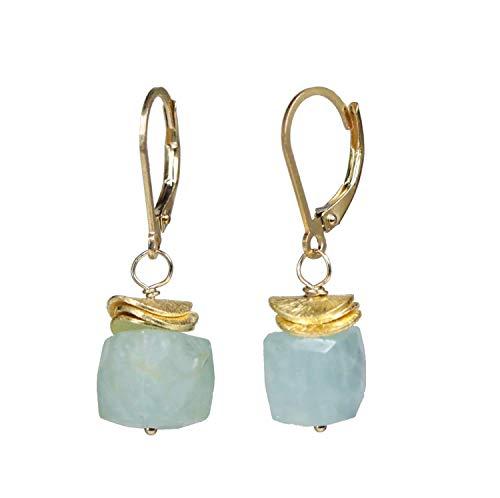 Aquamarine Cube Earrings -Aquamarine Gemstone Drop Earring- Women's Jewelry Gift Idea