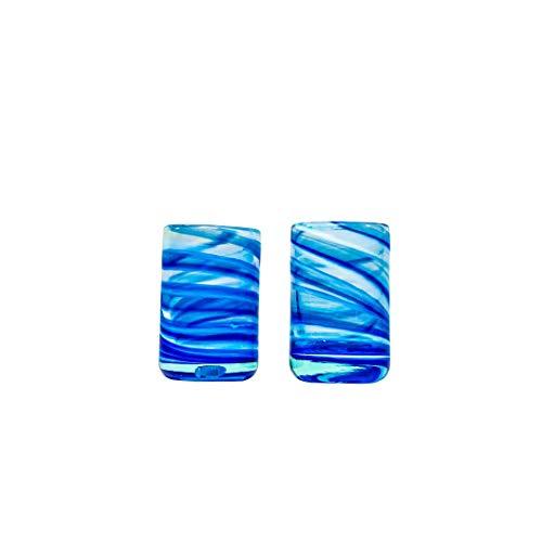ANTONI BARCELONA Vasos de Chupito Vodka Tequila Licor de Mallorca Línea Sea Foam Hechos con Cristal Reciclado Hecho por Artesanos Profesionales Colores Ideales (Azul, Set 2)