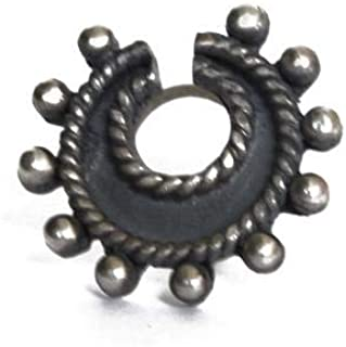 Abhooshan Designer and Tribal Horse Shoe Look Big Silver Alloy Nose Pin Studs for Women and Girls Stylish.