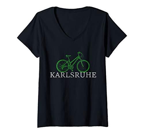 Damen Grüne Mobilität - Nachhaltig mit dem Fahrrad in Karlsruhe T-Shirt mit V-Ausschnitt