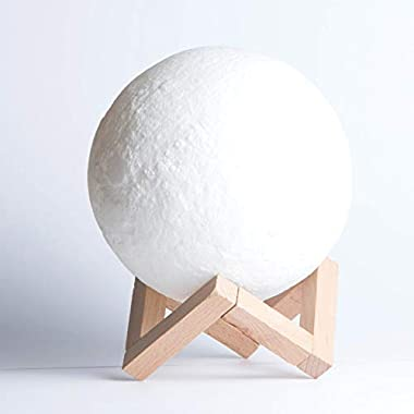 Moon Lamp Night Light 3D Printing - Bedrooms Nightstand Bedside Table Lamps - Kitchen Color Changing Modern Decor - Baby Bedroom Nursery lights - Outdoor Battery Operated Cordless Kids Lantern