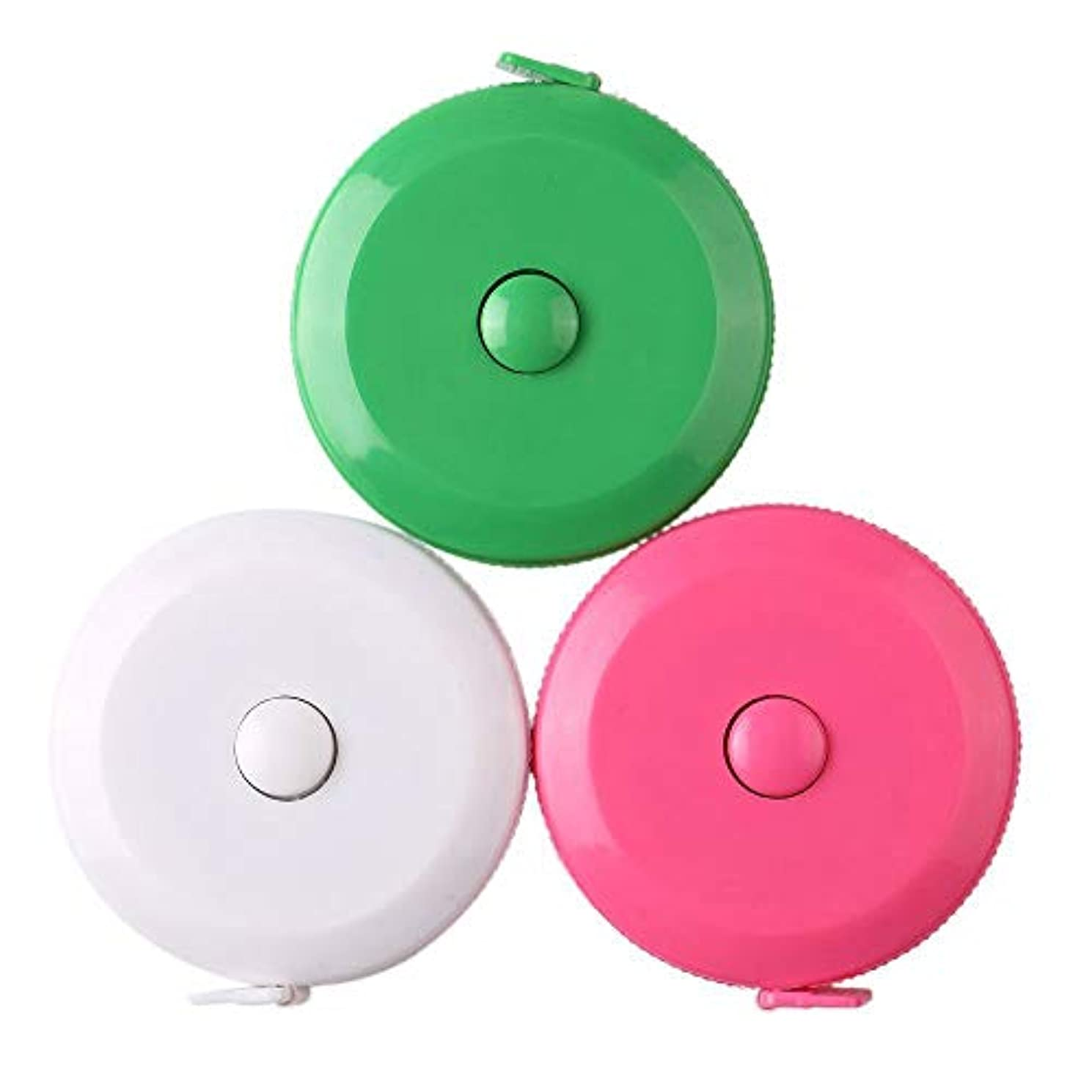 3 Pack Tape Measure 150 cm 60 Inch Push Button Tape Body Measuring Soft Retractable for Sewing Double-Sided Tailor Cloth Ruler (Pink Green White) By BUSHIBU