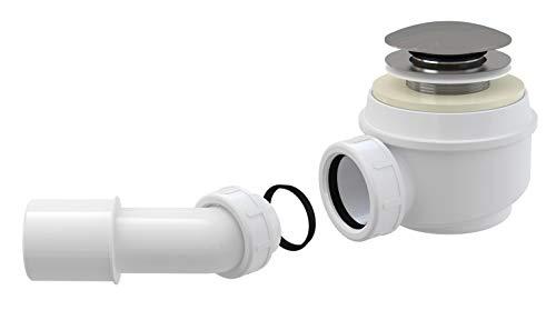 AlcaPlast A465 Ablaufgarnitur Duschablauf mit Siphon ø52mm Ablaufbohrung Abdeckung ø70mm CLICK/CLACK, Zubehör:mit Ablaufbogen 45°