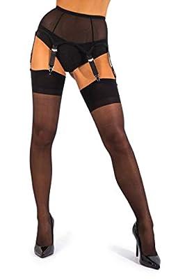 sofsy Sheer Thigh High Stockings for Women's Garter Belt/Suspender Belt | 15 Den [Made in Italy] (Garter Belt Not Included) - Black - XL from sofsy