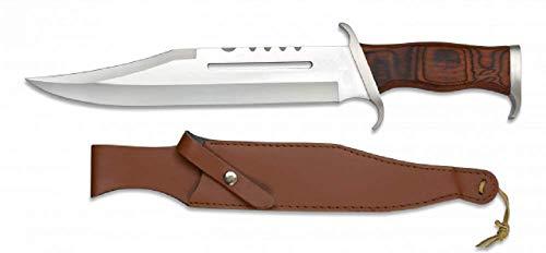 KOSxBO jachtmes in de stijl van Rambo 3 messen - First Blood Part III - Outdoor - Survival - Jacht - houten handvat - Mega Cult Bowie mes met lederen schede, zilverbruin