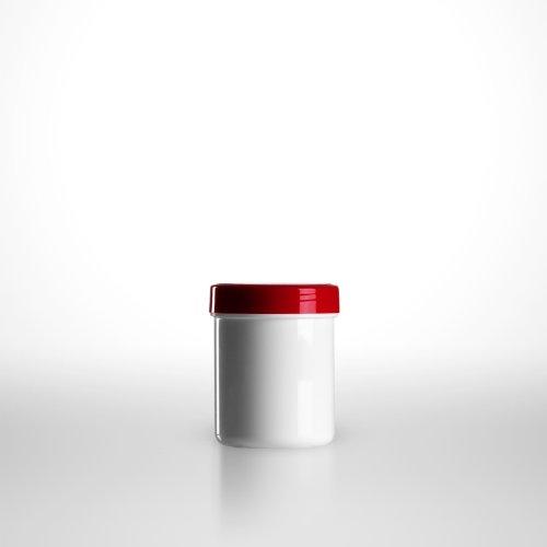10 x Salbenkruken (Salbendose) weiss/50g bzw. 60ml/Schraubdeckel rot/PP (€ 0,70 pro Stk.)