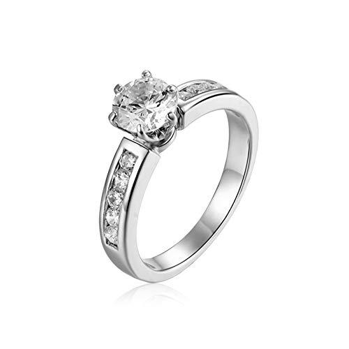Adokiss Anillo de boda de oro blanco de 18 quilates, 6 garras de Moissanita anillo de aniversario redondo para esposa, oro blanco, talla H 1/2, regalo para cumpleaños, día de San Valentín, Navidad