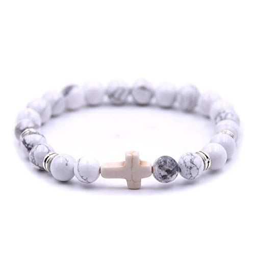 Softones 8mm Beads Cross Bracelet for Women Men Natural Stone Elastic Link Prayer Bracelet for Boy Girls,with Gift Box