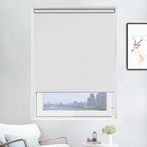 Acholo Blackout Roller Blinds White Shades for Windows, Cordless Spring Roller Shade,...